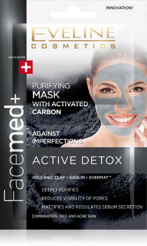 VELINE Facemed+ ACTIVE DETOX 3 az 1-ben tisztító arcmaszk aktív szénnel 2 x 5 ml