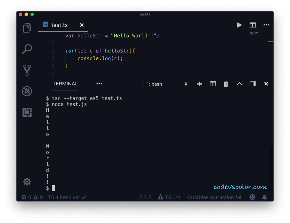 TypeScript for...of example2