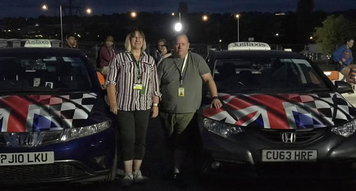 Justin and Dawn Miller from JusTaxis Glastonbury, Somerset