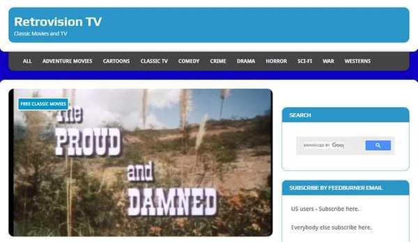 Retrovision TV free movie streaming site
