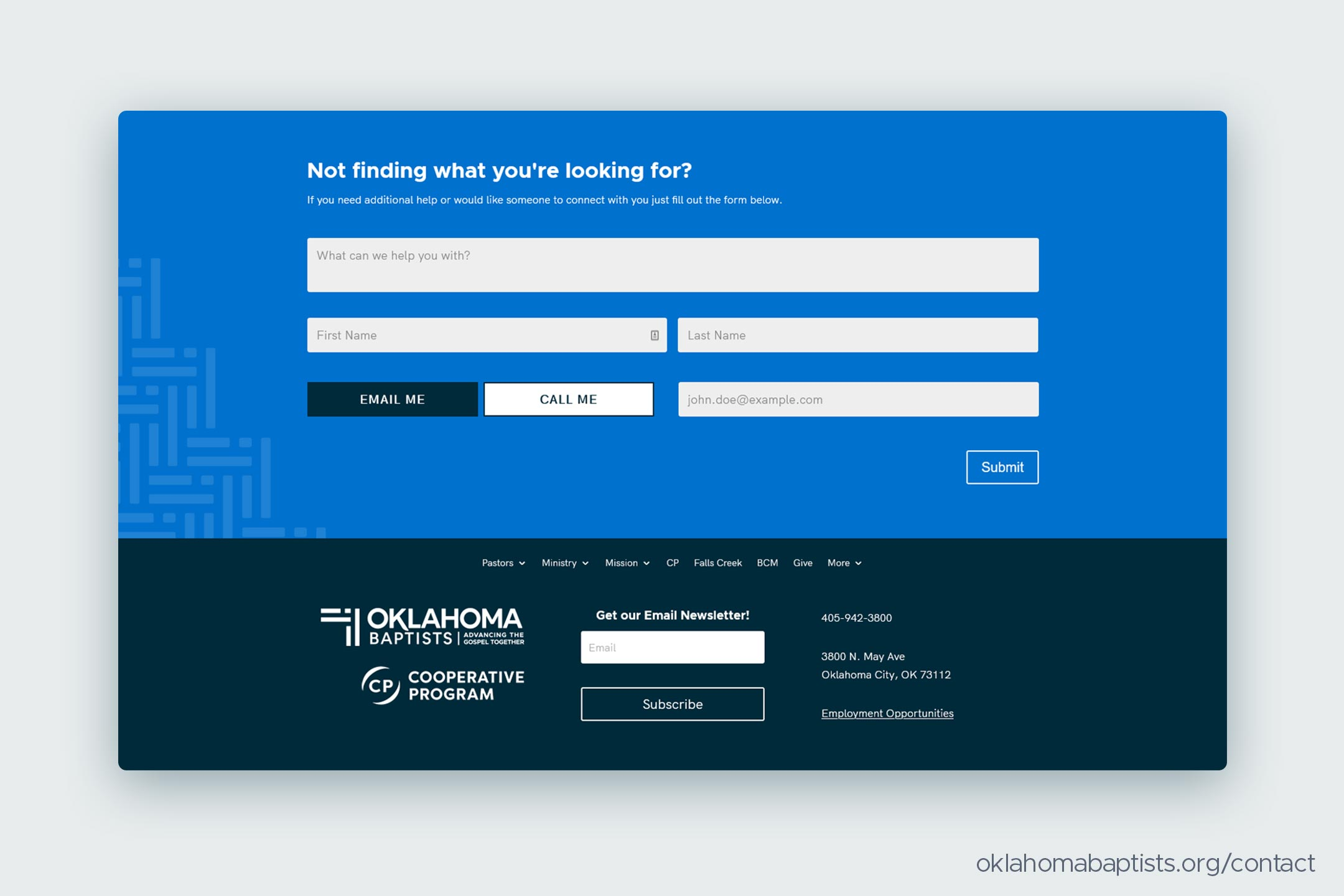 The universal contact form in the footer of every page on OklahomaBaptists.org