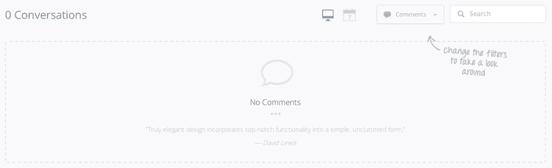 Screenshot of No conversations and comments