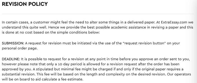 extraessay.com revision policy details