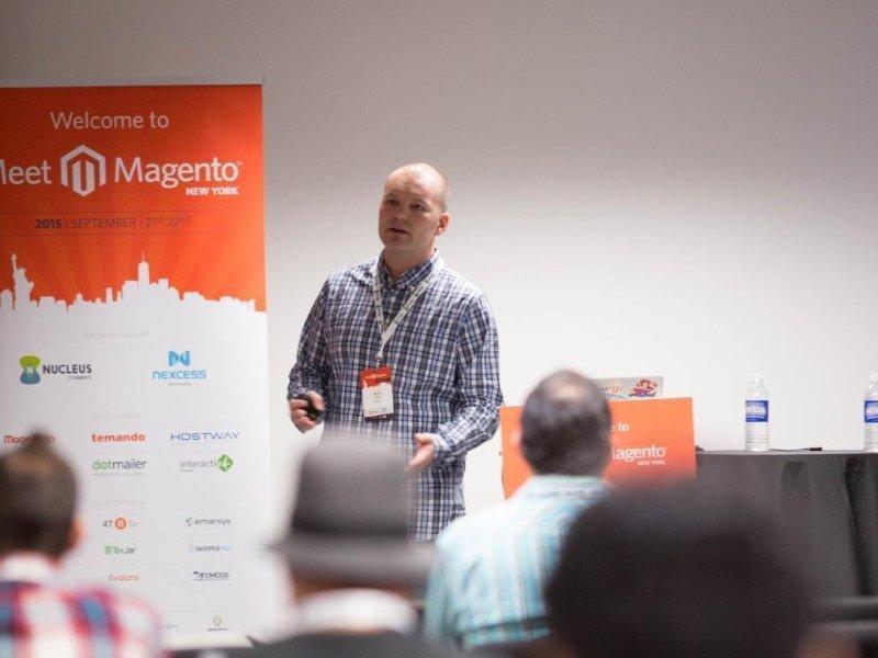 Mark presenting at Meet Magento New York about Docker-based development environments.