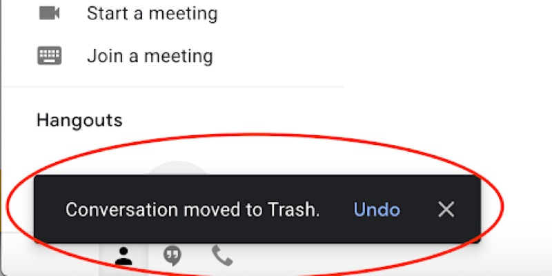 Screenshot of a Gmail notification serving as feedback to confirm message was deleted