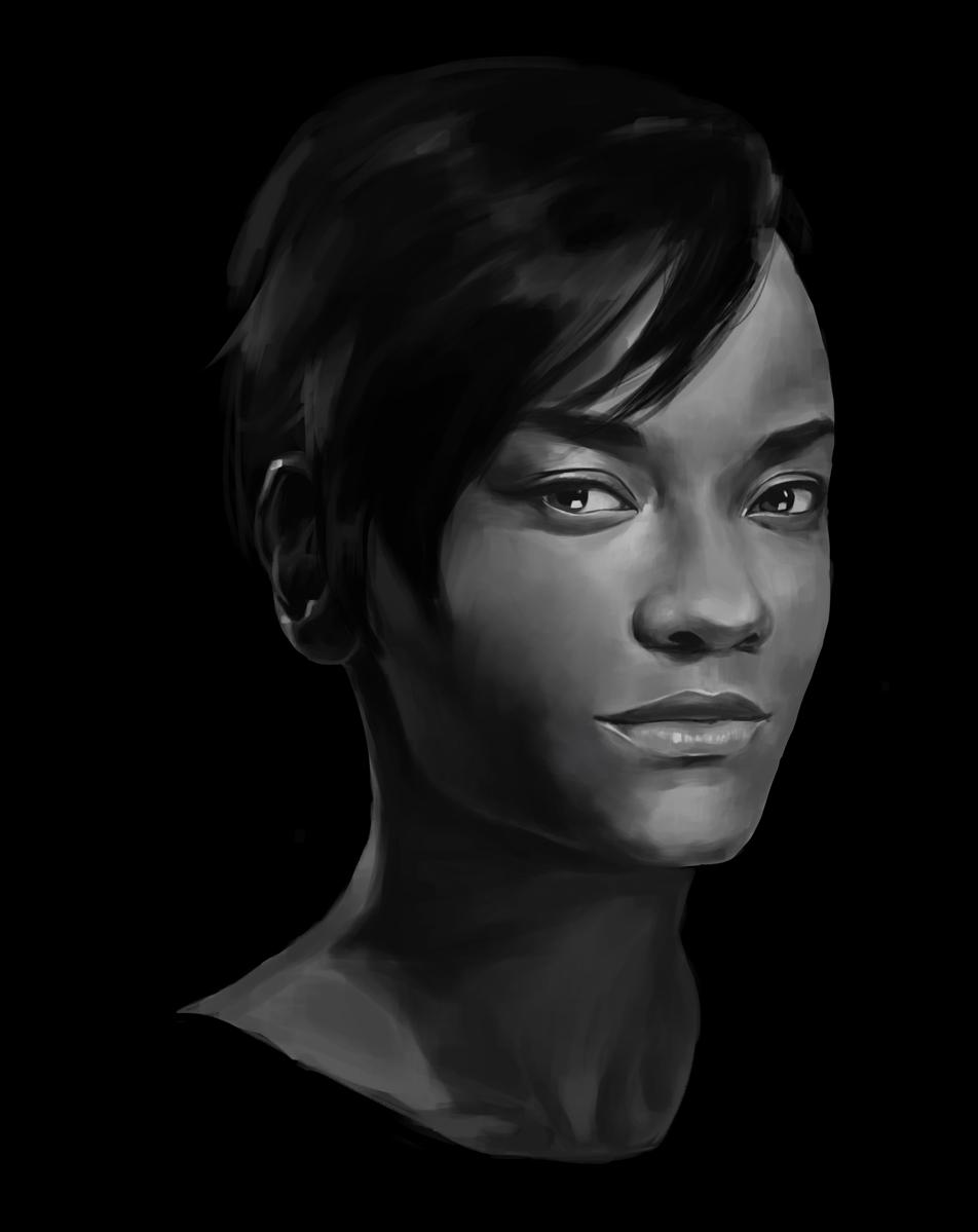 Black and white portrait of Letitia Wright