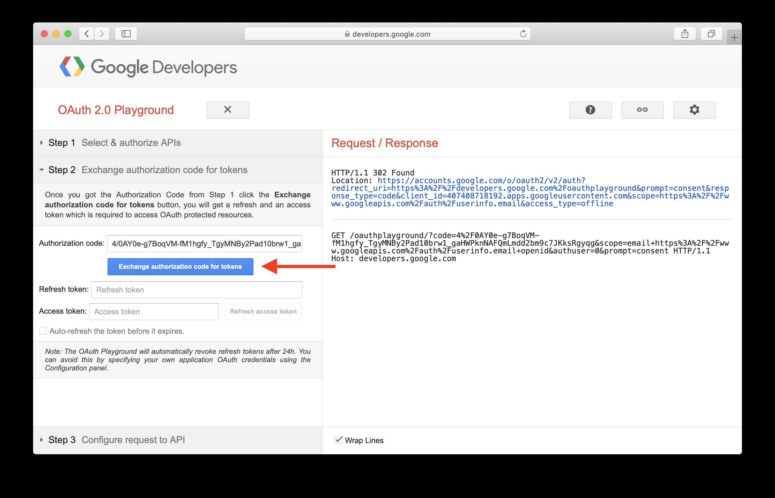 Exchange Google authorization code for user access token