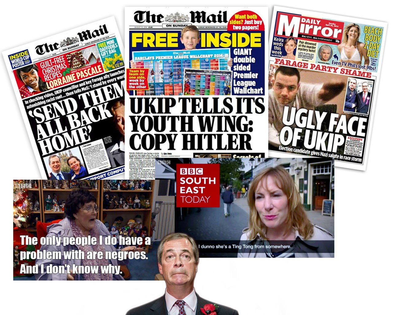 A selection of newspaper headlines and tv screenshots highlighting UKIPs terrible politicians