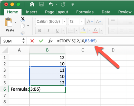 A Microsoft Excel worksheet with =STDEV.S(12,10,B3:B5) typed into the formula bar