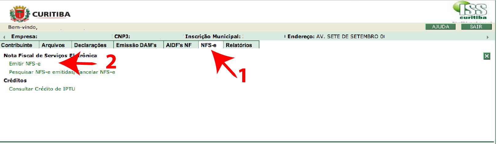 Passos 1 e 2 de Como Emitir Boa Nota Fiscal - ISS Curitiba no simples nacional