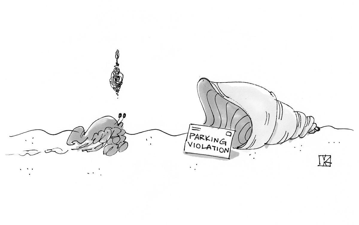(Hermit crab approaches shell and sees a parking violation ticket at the entrance.)