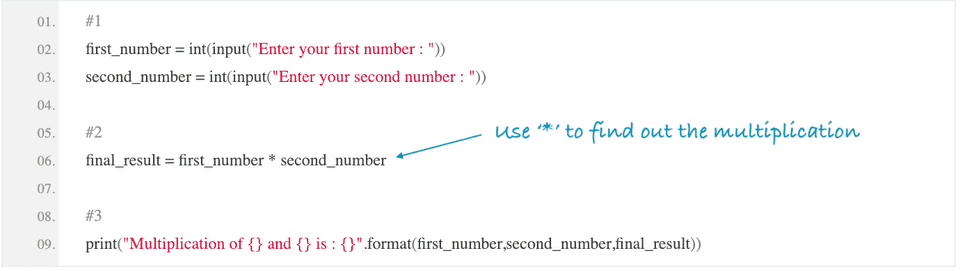 python multiplication of two numbers