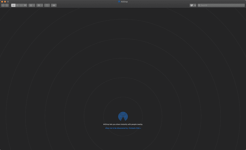 Screenshot of Nobody nearby in Airdrop for macOS