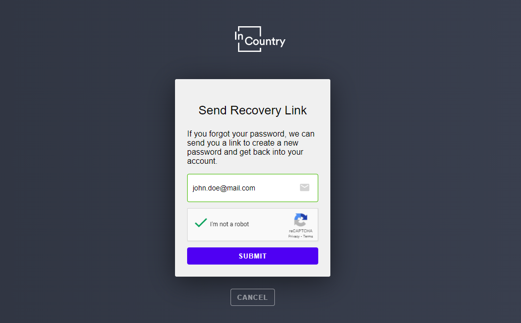 Send Recovery Link