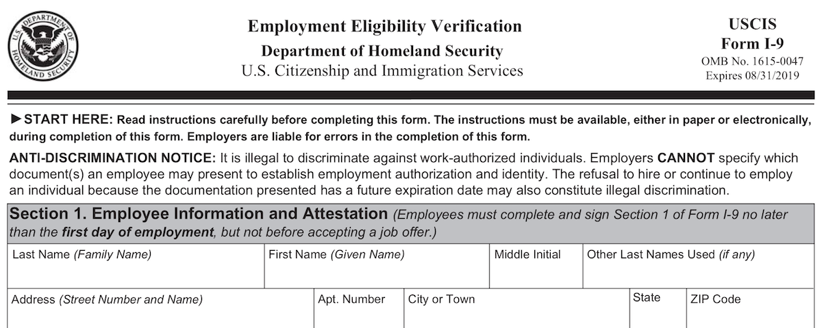 Employment Eligibility Verification - Department of Homeland Security