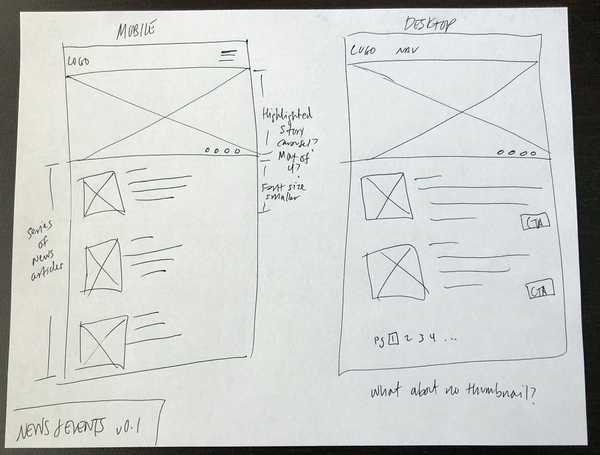 Early wireframe sketch of news and events landing page