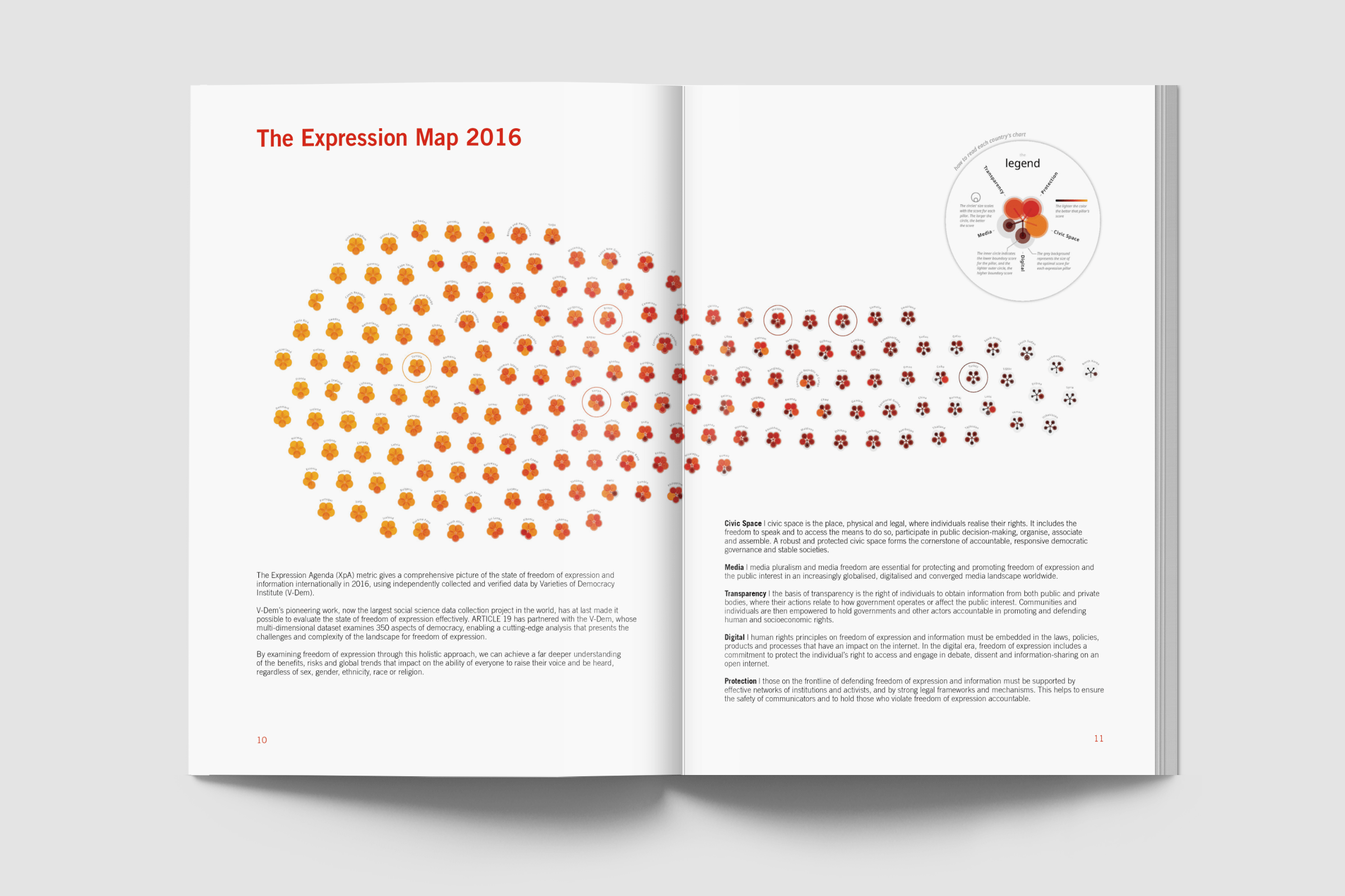 The Expression Agenda Report itself with the full visual spread across two pages
