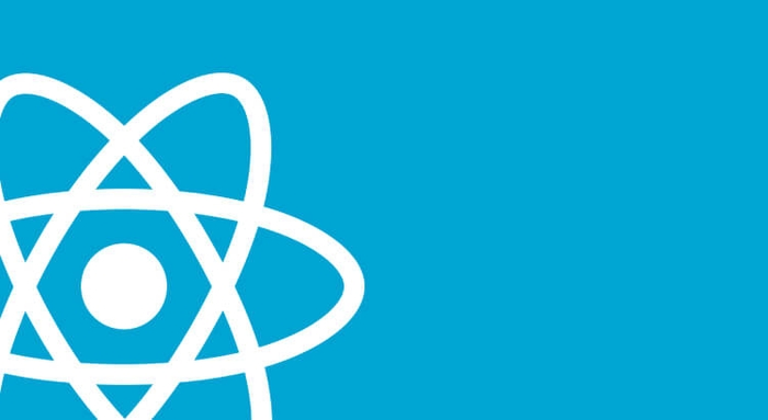 React logo in white on a blue background
