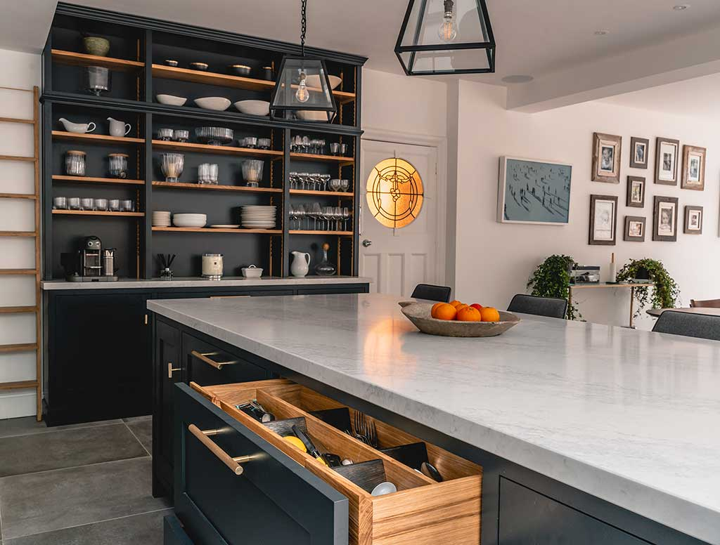 Custom kitchen cabinets and dresser by Method Furniture Makers
