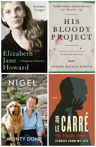 Elizabeth Jane Howard: a dangerous innocence, His Bloody Project, Nigel: my family and other dogs, The Pigeon Tunnel