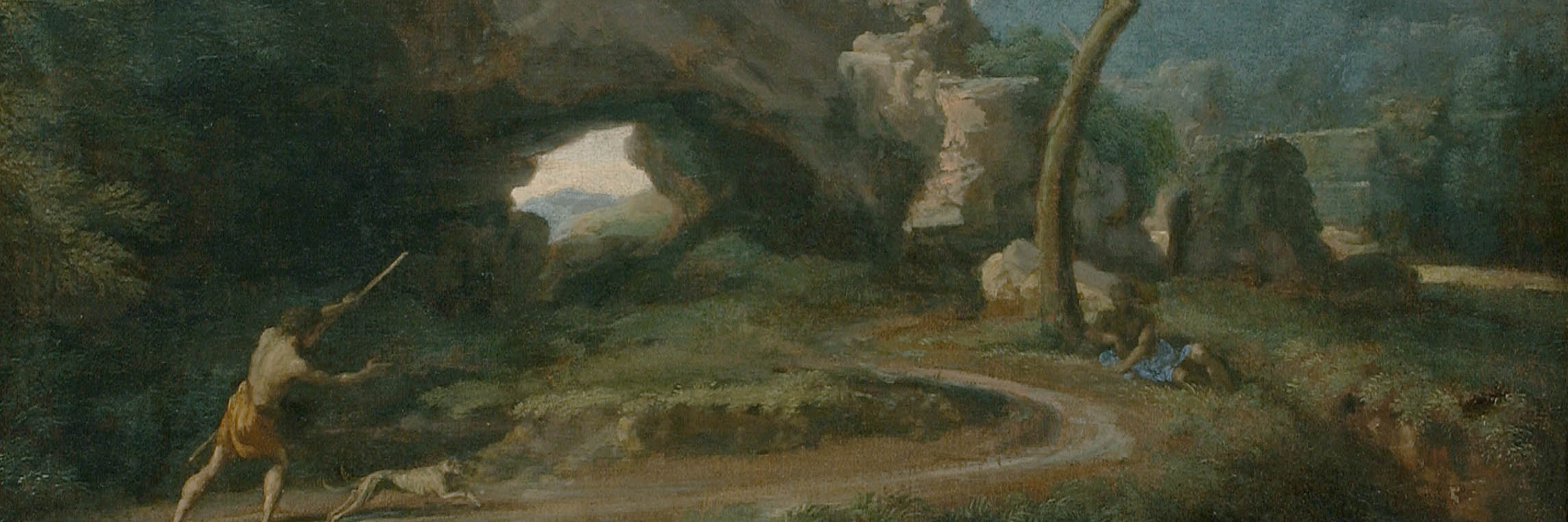 Landscape painting depicting a natural rock formation with shepherd and dog in foreground. Another man is shading himself under a tree nearby.