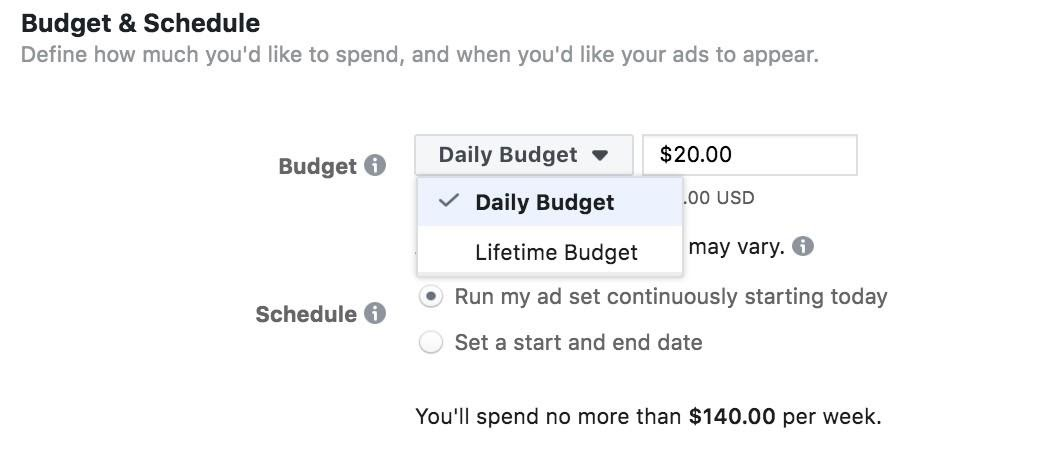 Facebook Ads setting up budget and schedule.