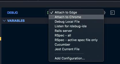 Launch menu for debugger in VS Code