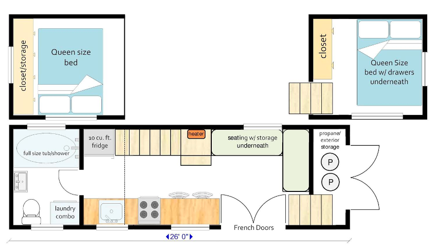 A 33' gooseneck trailer with two queen beds in the loft/upper areas, both with in-built closet and storage space. This also contains a living room downstairs via seating area, separate to a breakfast bar area.
