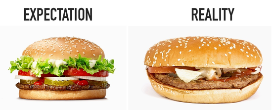 fancy advertising burger vs the burger you really get in store