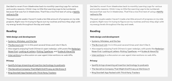 Side by side: dark text and links on the left, less contrasted text and links on the right