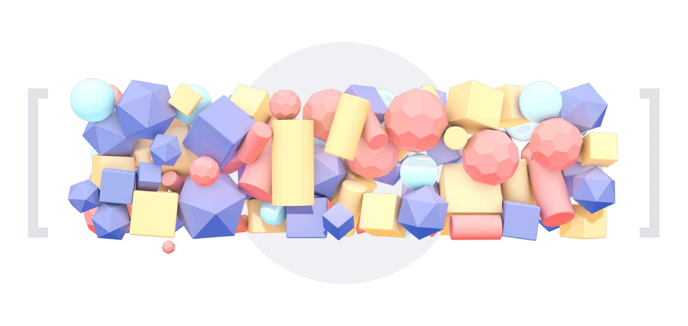 3d render of colorful objects tightly packed in rectangular shape in between of square brackets