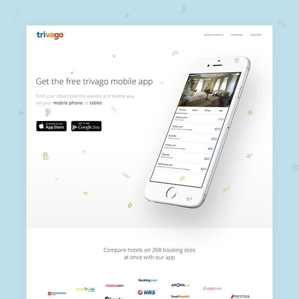 trivago app landing page image