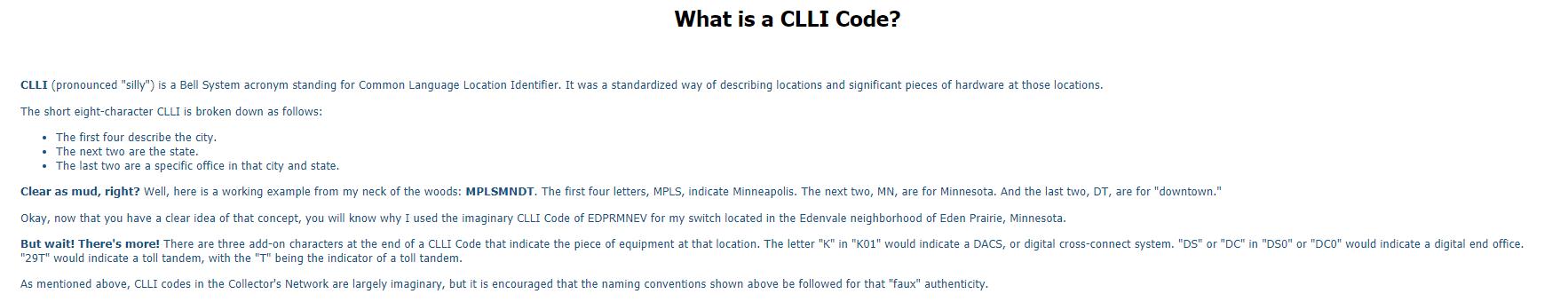CLLI explaination