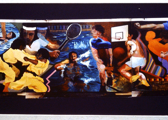 wall mural of figures in various athletic activities