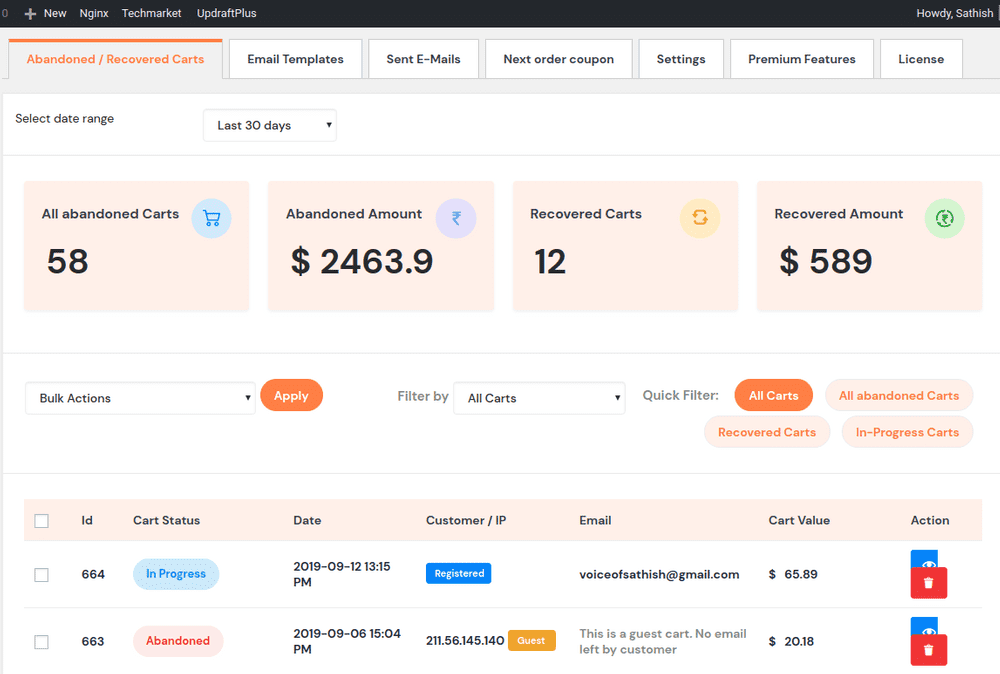 3 cart reports retainful