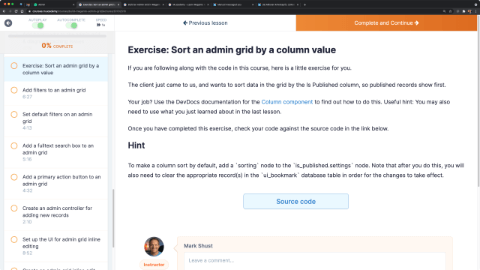 Exercise: Sort an admin grid by a column value