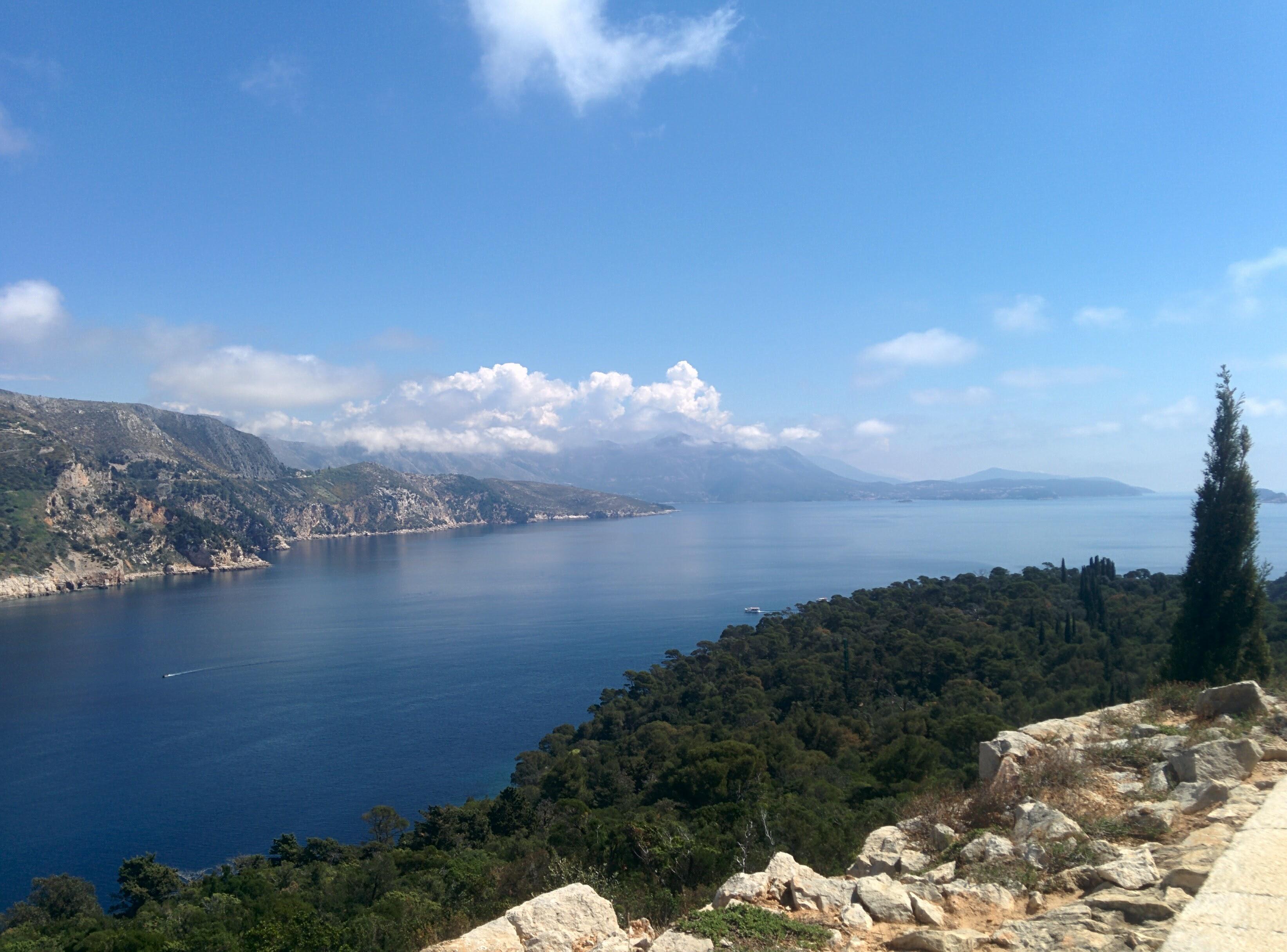 Sea view and the Dubrovnik coastline.