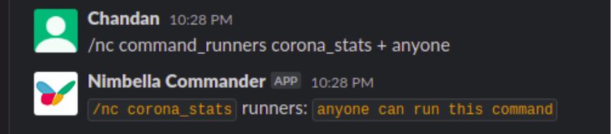 corona stats command permissions on slack