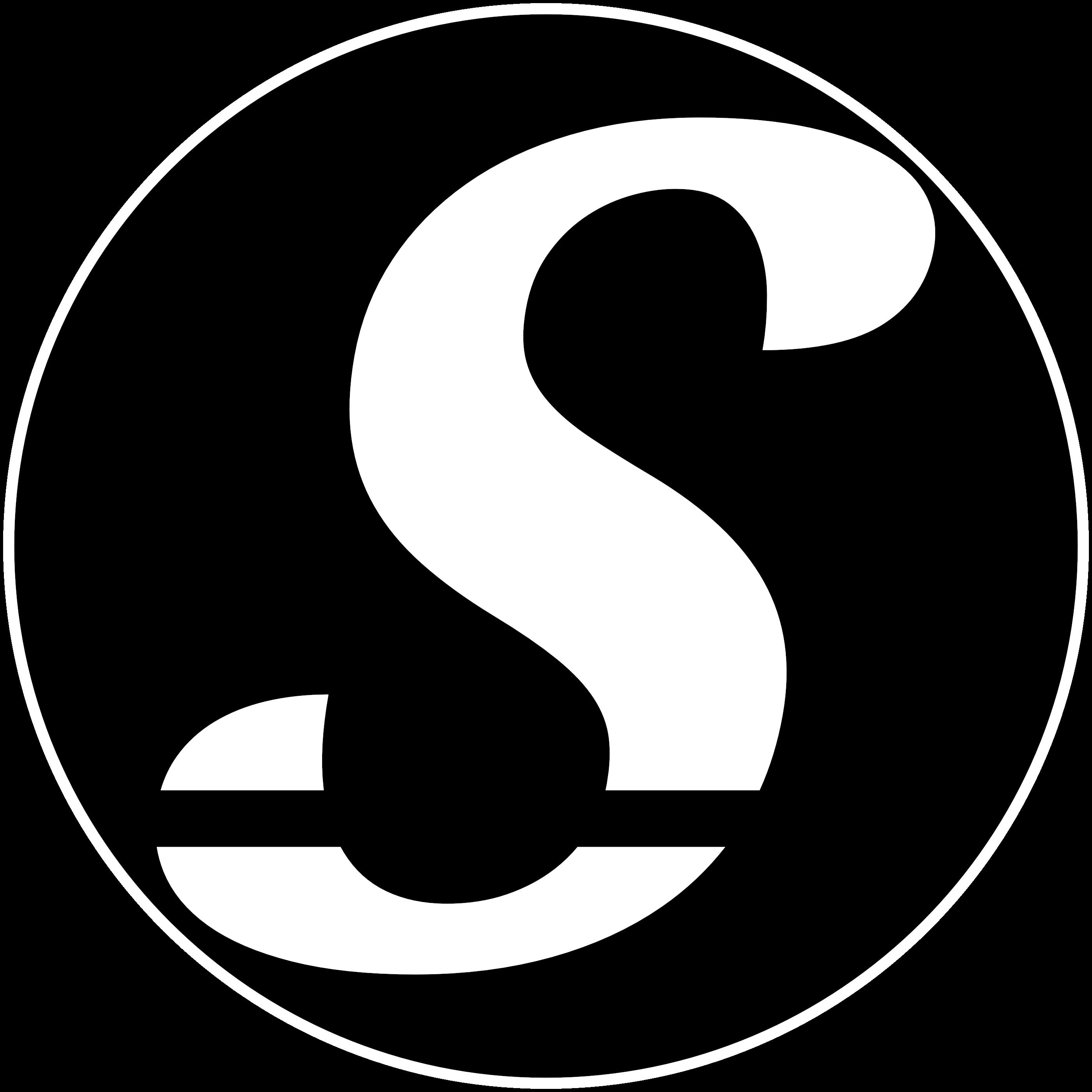 "Sheekore ""S"" monochrome white logo."