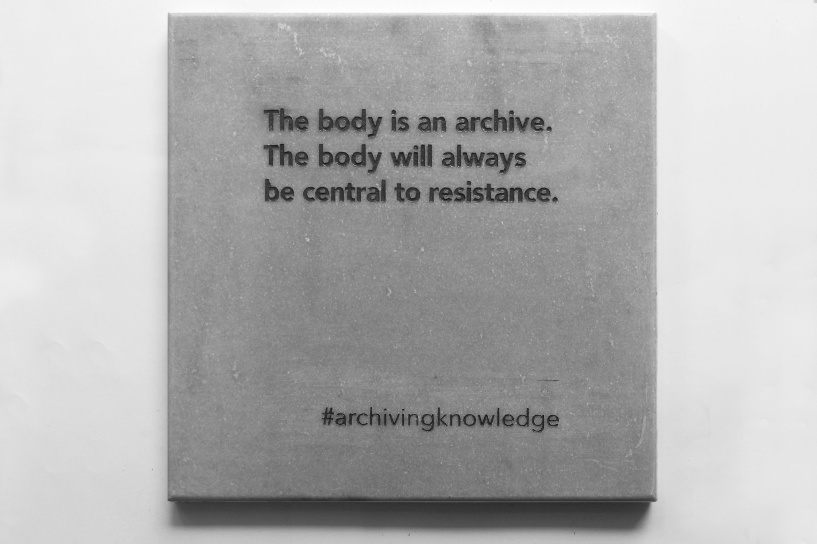 The body is an archive. The body will always be central to resistance, From the series: Archiving Knowledge, hand engraved marble, 2018