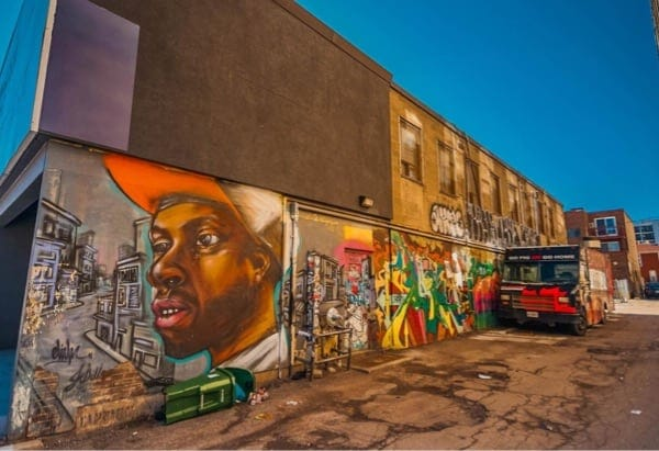 One of the colorful artworks at Queen Street West at the Graffiti Alley