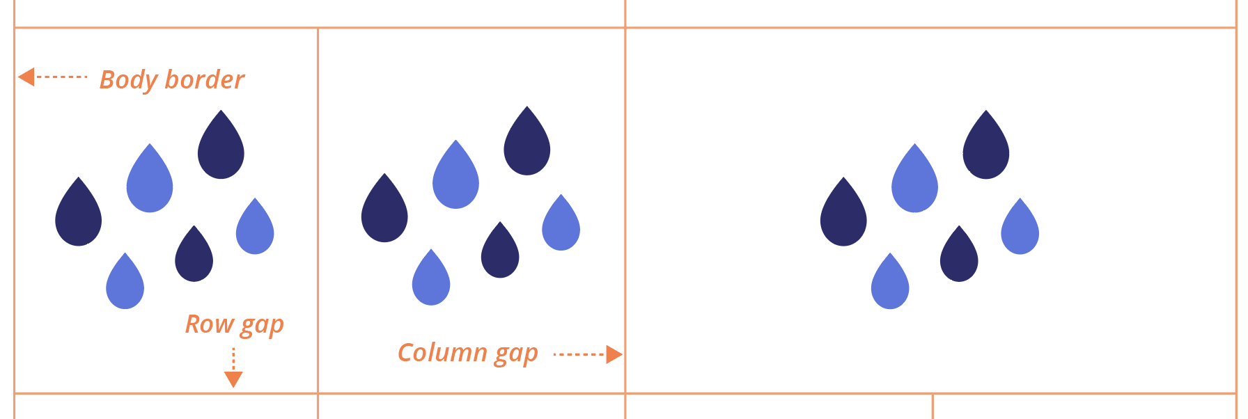Grid gap rain illustration