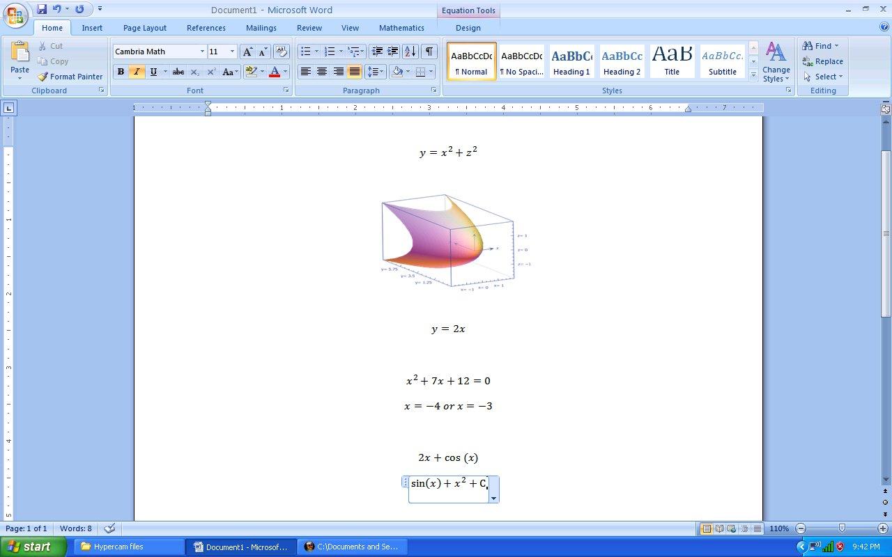 Microsoft math add-in