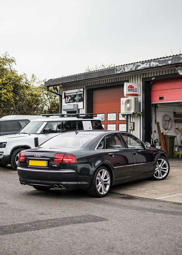 Audi s8 car before window tinting from back