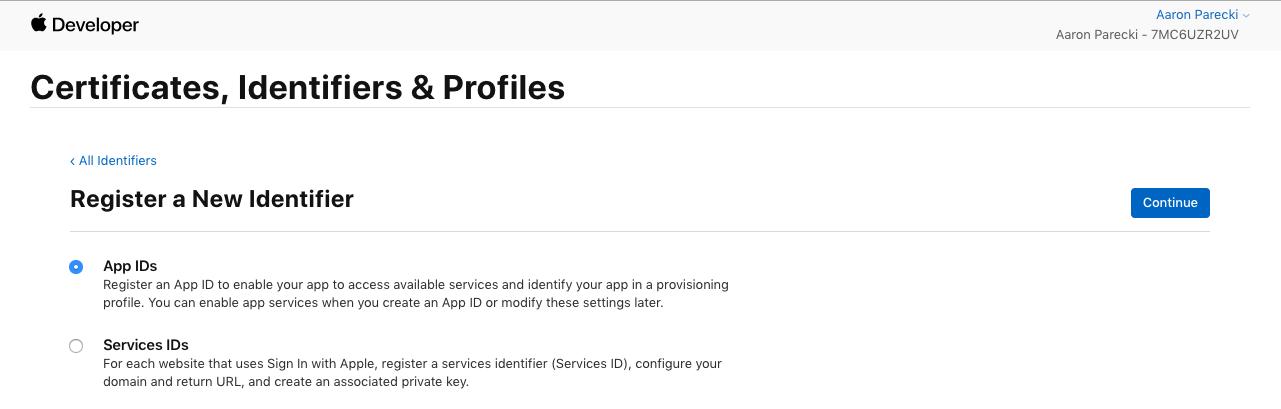 Choose App IDs