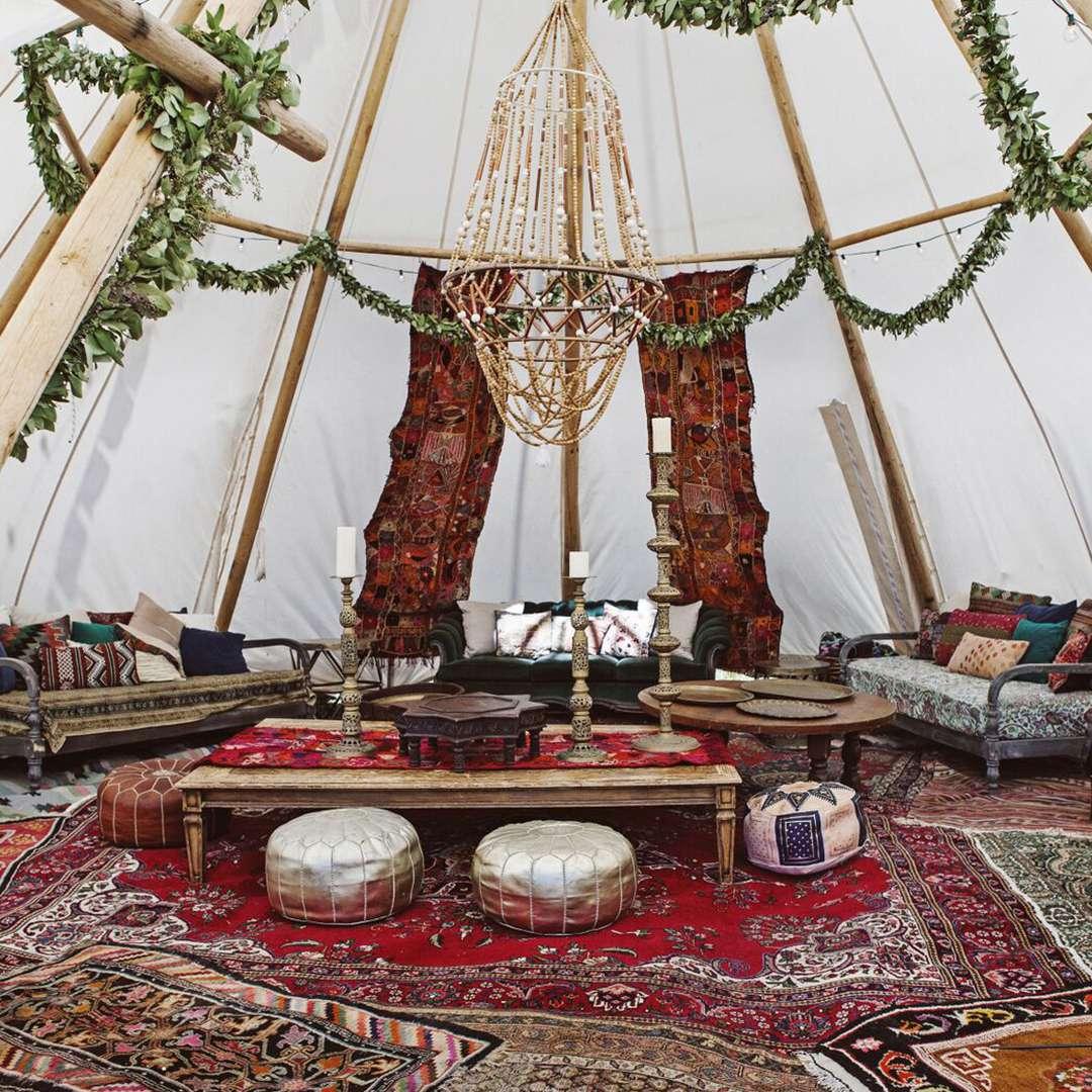 Social gatherings inside canvas tent