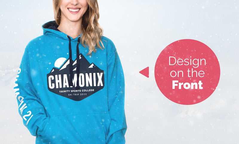 A ski trip hoodie design printed on the front of a hoodie