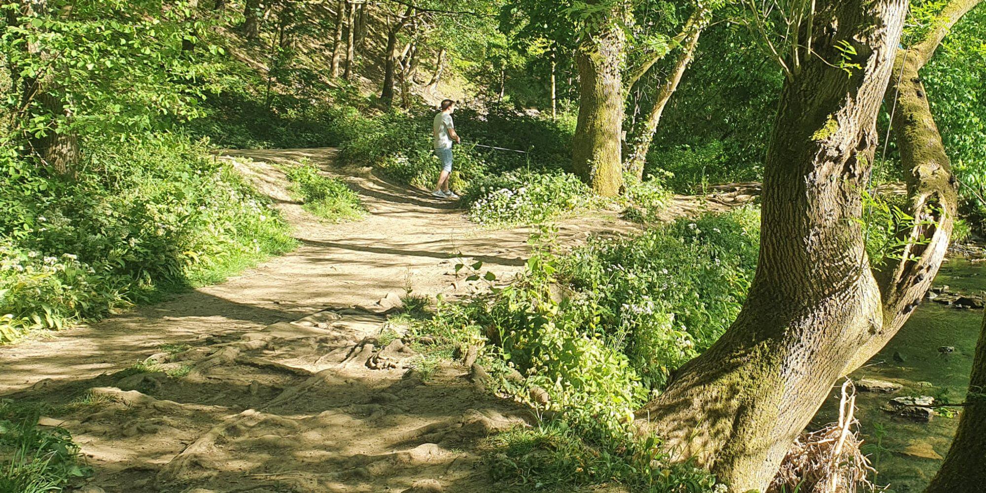 Dry dirt path weaving through Post Hill