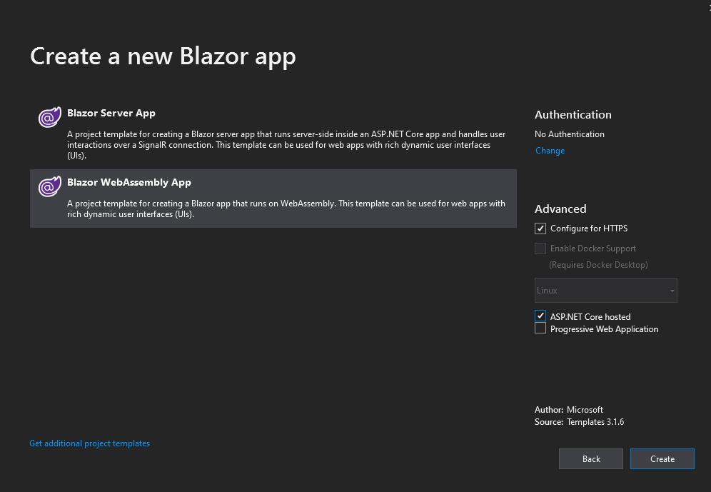 Create a new Blazor Application