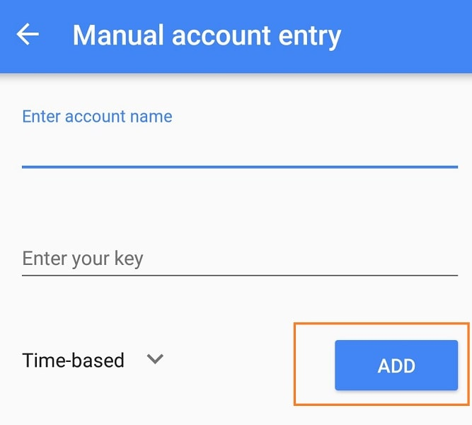 Setup Google Authenticator - Manual account entry